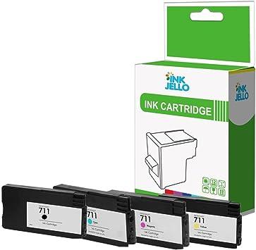 InkJello - Cartucho de tinta compatible para impresora HP Designjet T120 T520 ePrinter 711 (negro, cian, magenta, amarillo, 4 unidades): Amazon.es: Electrónica