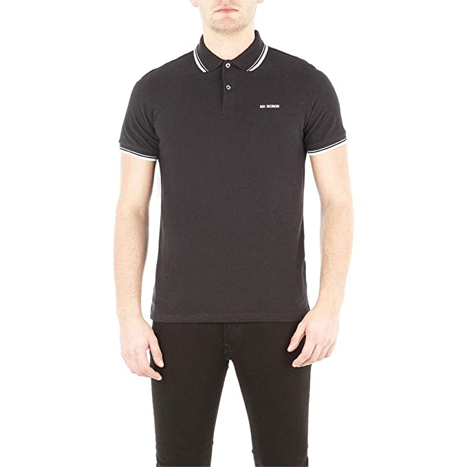9f697ec6 Image Unavailable. Image not available for. Color: Ben Sherman - Block  Front Romford Mens Polo Shirt Black LG