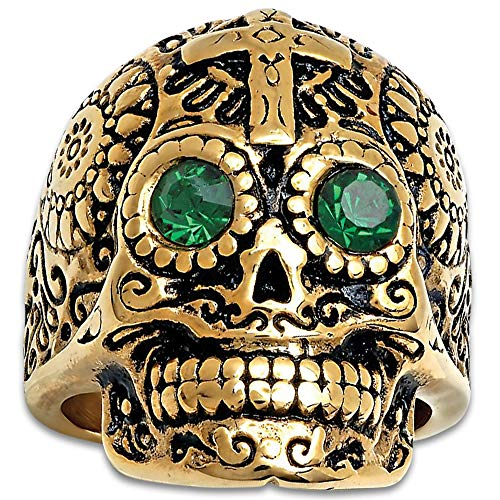 Cross Sugar Skull Ring with Emerald Green Eyes - 18K Gold-Plated Stainless Steel Construction, Faux Jewels, Size ()