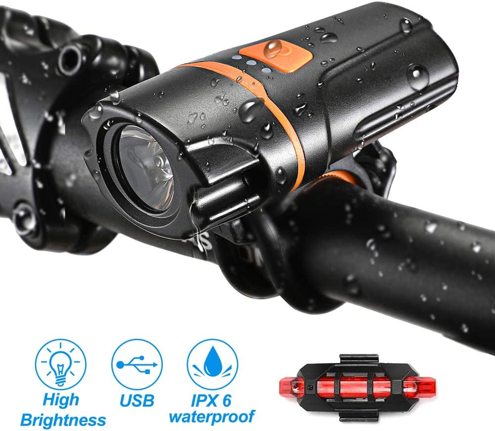 VICKSONGS Luz Bicicleta Recargable USB Potente Delantera, Juego de Faros con Luz Trasera de Bicicleta Luz [10 Horas/7 Modos] IPX6 LED Bicicleta para Carretera y Montaña - Seguridad para la Noche