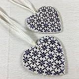 JANECKA Tiny Purple Flower Heart 2.5'' (Set of 2) Ornament/Essential Oil Diffuser/9th Wedding Anniversary Gift