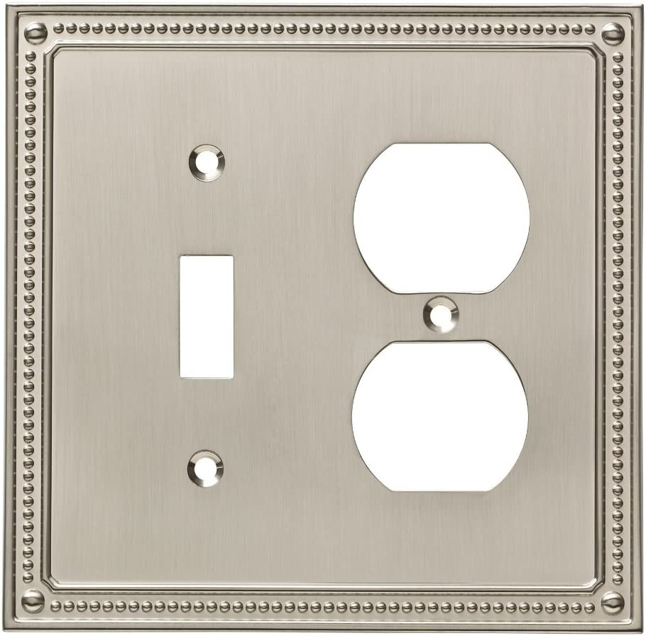 Franklin Brass W35062-SN-C Classic Beaded Switch/Duplex Wall Plate/Switch Plate/Cover, Satin Nickel