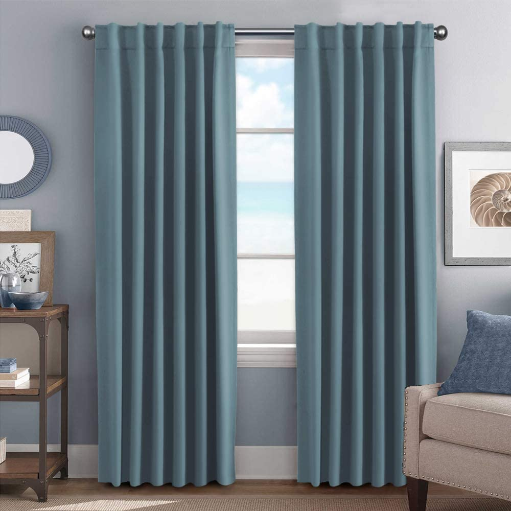 H.VERSAILTEX Bedroom Blackout Curtains Panels Window Treatment Thermal Insulated Solid Blackout for Living Room, Back Tab/Rod Pocket Window Draperies 84 Inch - Stone Blue