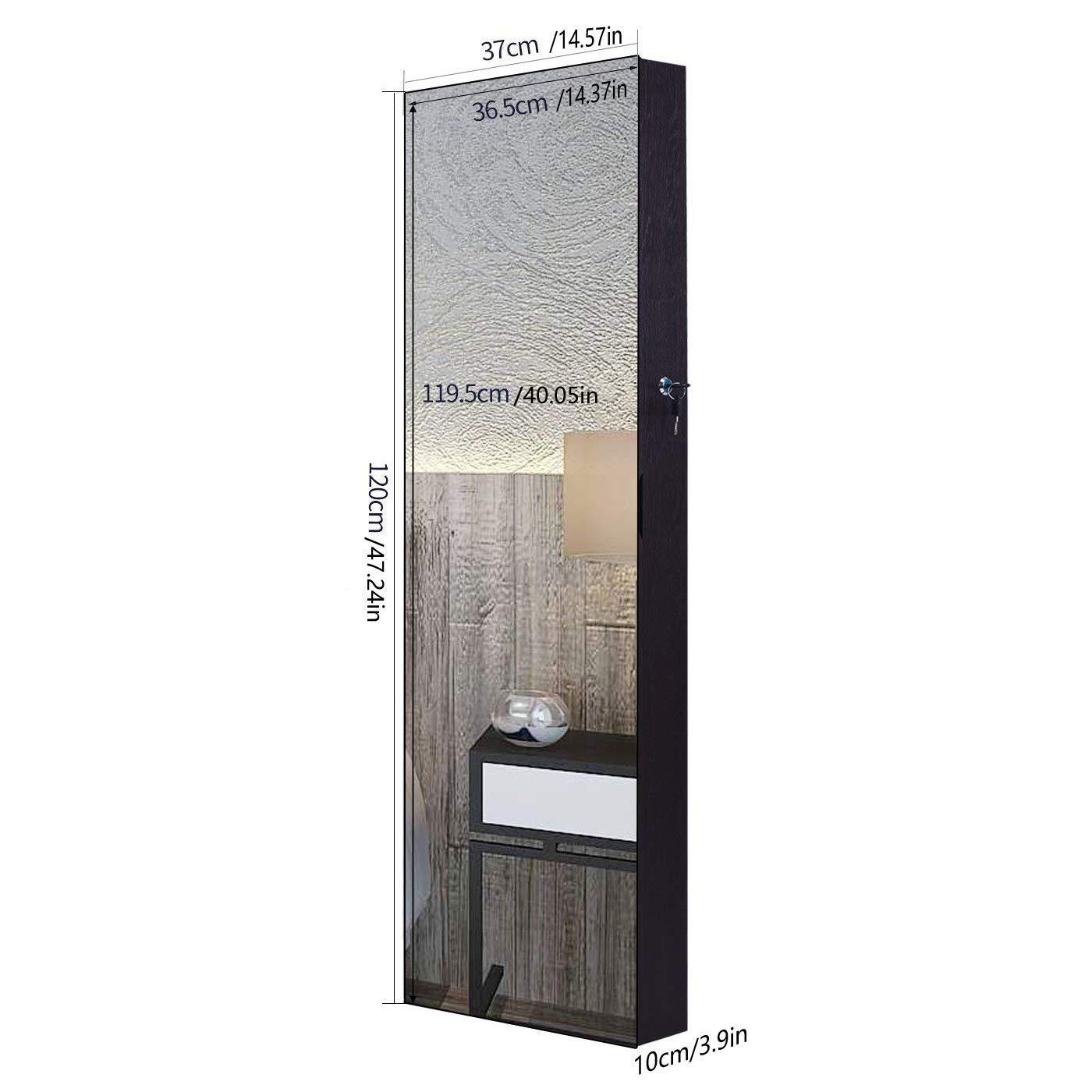 Armoire /à Bijoux,AOOU Armoire Bijoux avec Miroir,Avec six lumi/ères LED,Miroir pleine longueur avec verrouillable,Porte murale mont/ée,Grande capacit/é de stockage(Marron)