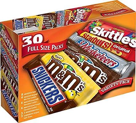 M&MS, Snickers, 3 mosqueteros, Skittles & Starburst Mezcla de Caramelos de Chocolate de tamaño Completo, 4 Pack (30 Packs): Amazon.es: Deportes y aire libre
