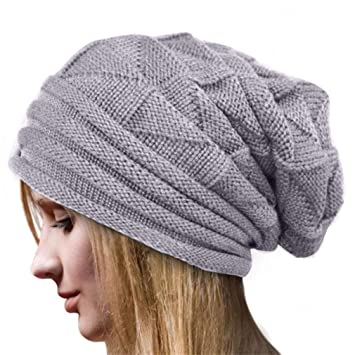 fc5d1f0ed23f8 Amazon.com   Winter Knitted Hats Women Fashion Flower Crochet Warm Caps  Girls Lady Casual Berets Cap Boys Skateboarding Hip Hop Hat Gray One Size    Beauty