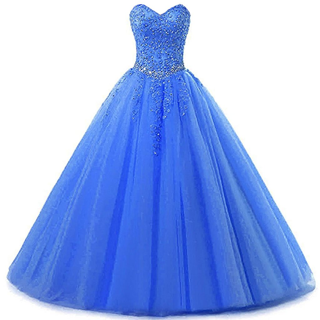 Sky bluee Vantexi Women's Sweetheart Tulle Prom Ball Gown Quinceanera Dresses