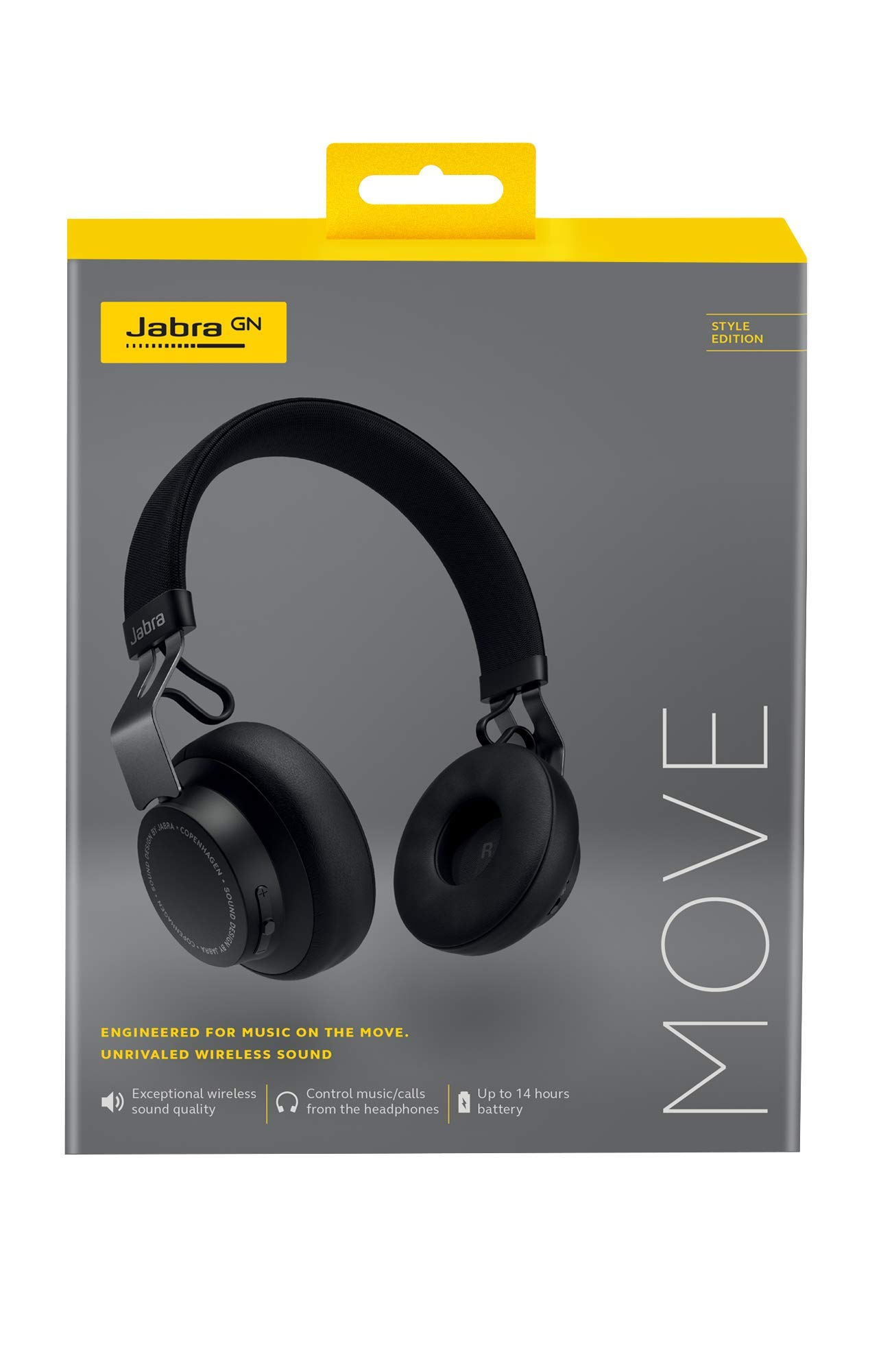 Jabra Move Style Edition, Black Wireless Bluetooth Music Headphones