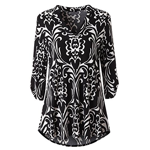 LUCA Womens Roll-Up Long Sleeve Top Casual Floral Printed Casual V Neck Layered Blouses Black