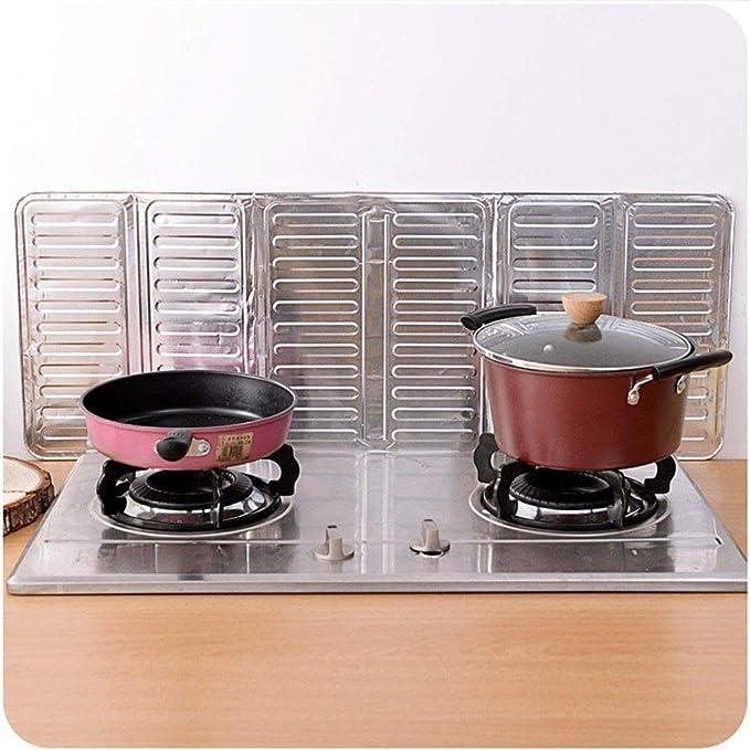 Fangfeen Papel de Aluminio Estufa Escudo Aceite Salpicadura de la Pantalla de Aislamiento Protector de la Herramienta de la Cocina 3 Lados Aceite ...