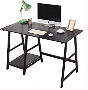 Computer Desk with Storage Shelves/Keyboard Tray/Monitor Stand Study Table for Home Office (Industrial/Rustic Brown)