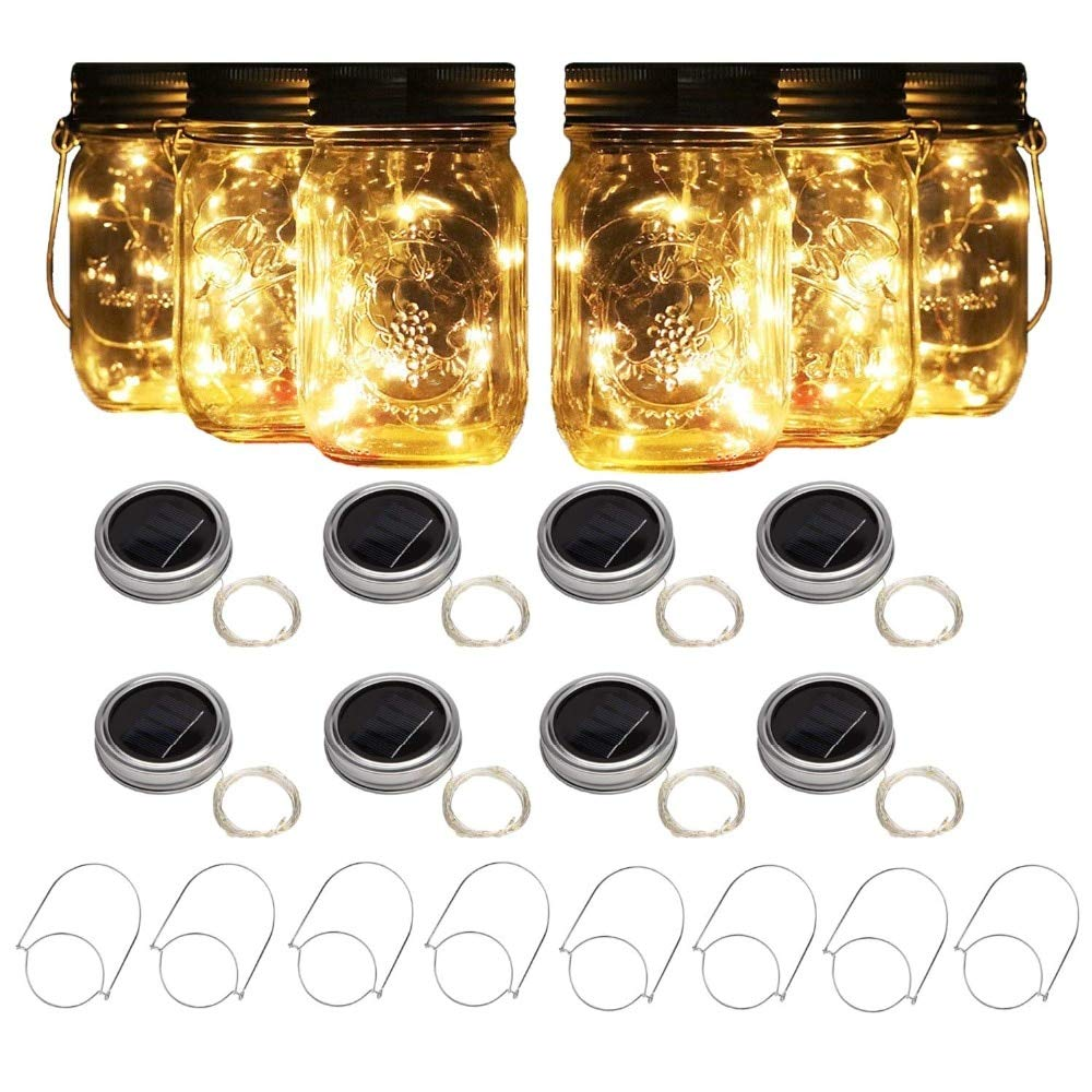 Mason Jar Lights 8 Pack Solar with 8 Handles,10 Led String Fairy Firefly Lights Lids Insert for Regular Mouth Jars Garden Decor (RGB)