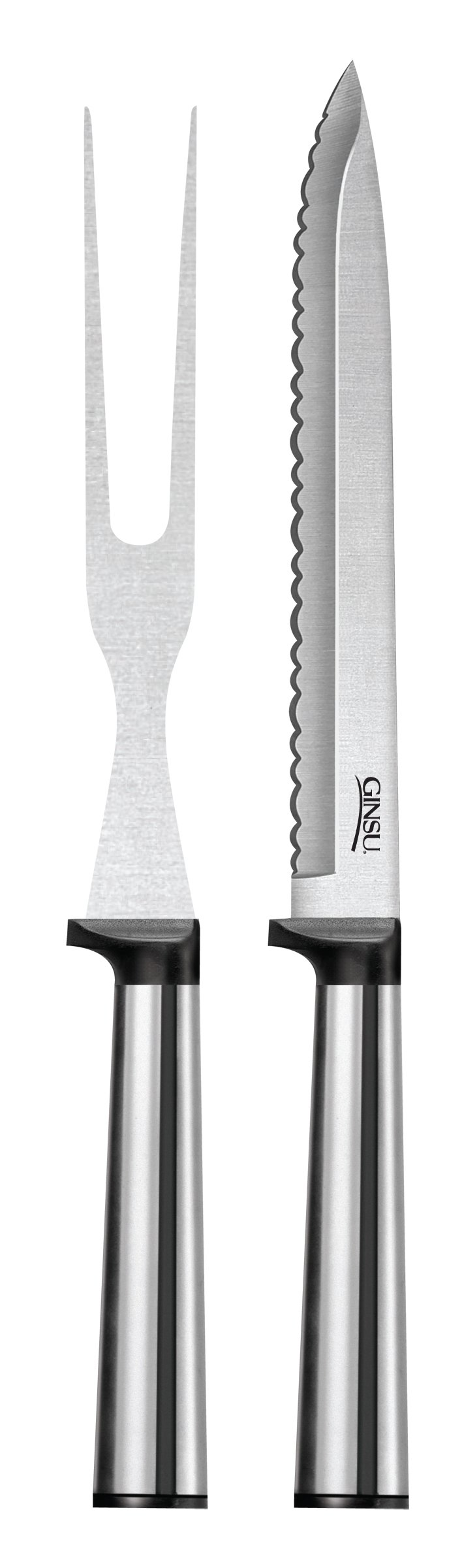 Ginsu Koden Series Stainless Steel 2-Piece Carving Knife Set – Serrated Kitchen Knife Set, GKK-SS-DS-002-3