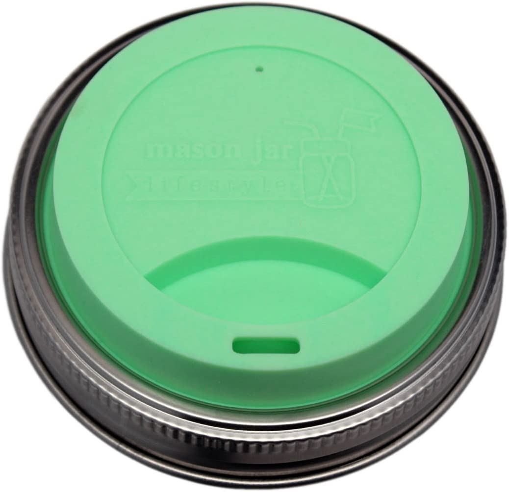 Silicone Drinking Lids with Rust Proof Stainless Steel Bands by Mason Jar Lifestyle (2 Pack, Mint Green, Wide Mouth)