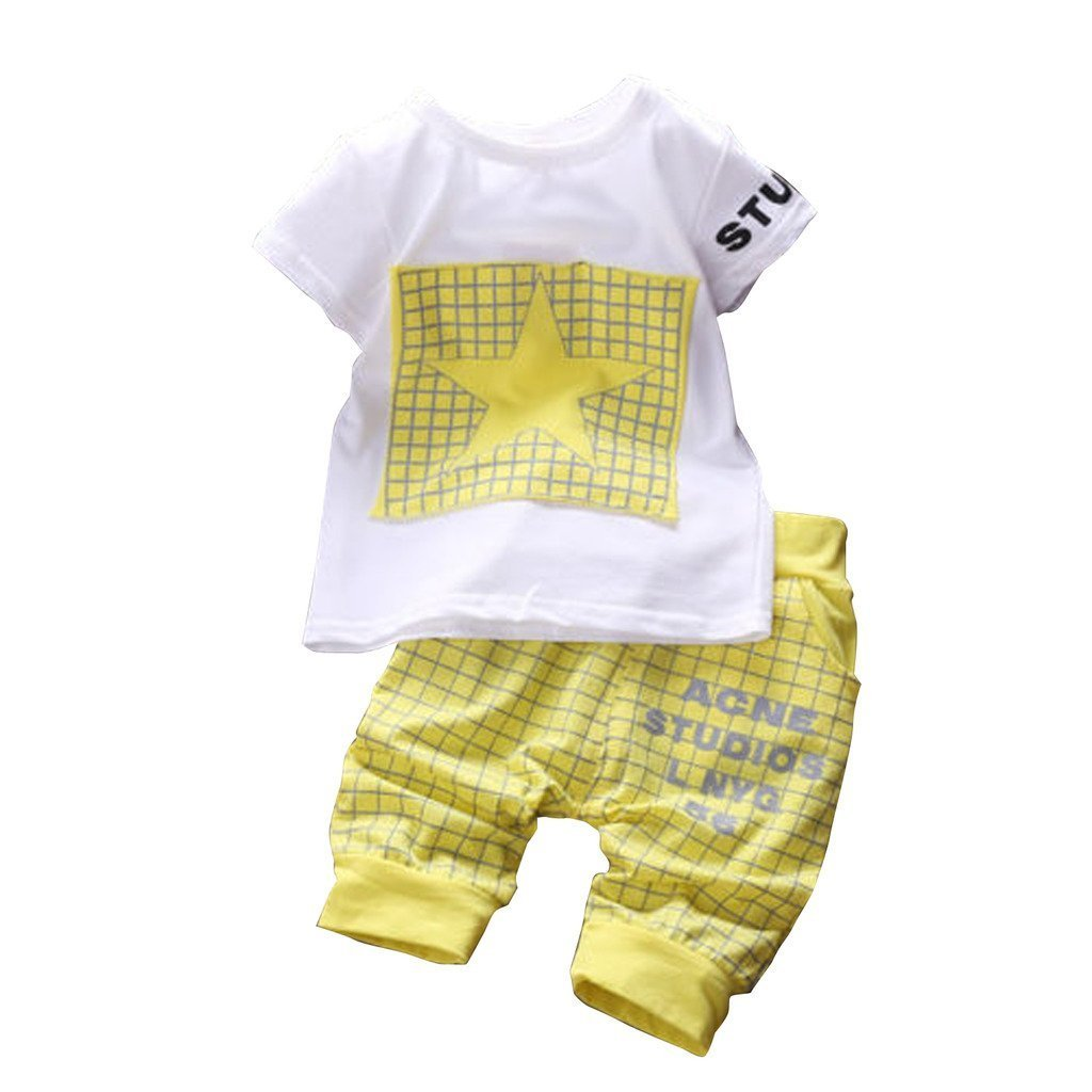 Canis Baby Boy Kid 2 Piece Star Sportswear Clothes T-Shirt Top Short Pants Outfit Set (XL/3Y,Yellow)