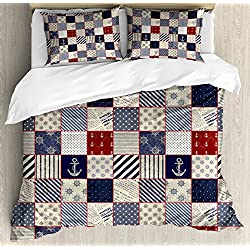 Lunarable Patchwork Duvet Cover Set Queen Size, Checkered Pattern with Old Nautical Design Elements and Grunge Effect, Decorative 3 Piece Bedding Set with 2 Pillow Shams, Navy Blue Ruby Beige