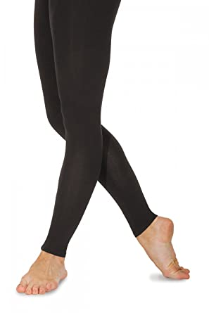 c2f2aaa29b98c Roch Valley Footless Tights Leggings Cotton Lycra Black Dance Gym Fitness:  Amazon.co.uk: Clothing