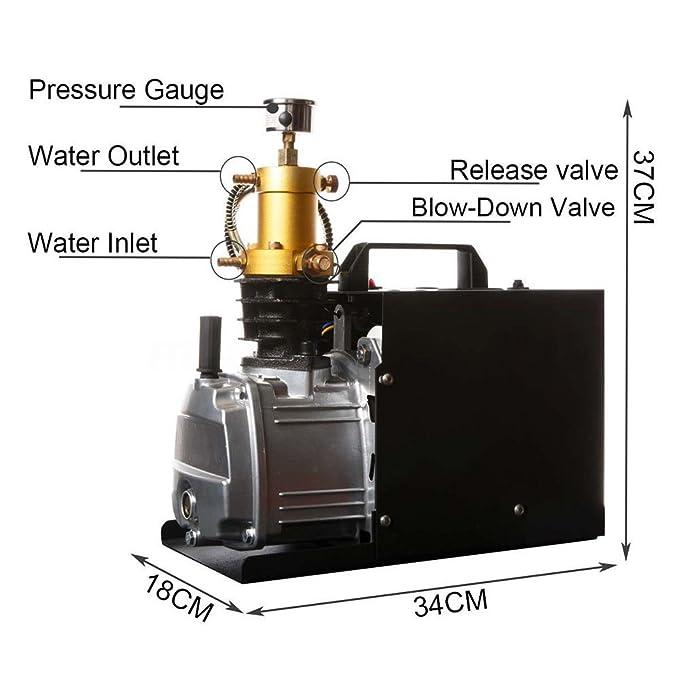 Yiiiby Bomba de Aire de Alta presión eléctrica 300BAR 40MPA 4500PSI Compresor de Aire PCP para automóviles Botella de inmersión Industrial Rifle Inflator: ...