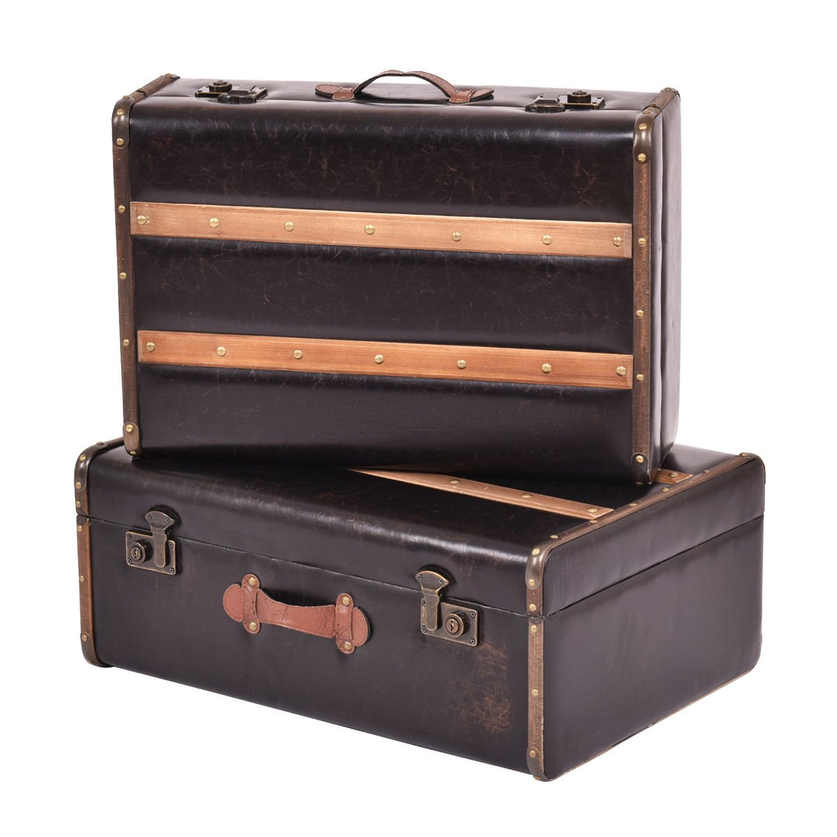 Vintage Suitcase Retro Antique Luggage Train Case Wooden Storage Boxes Set of 2 by Caraya