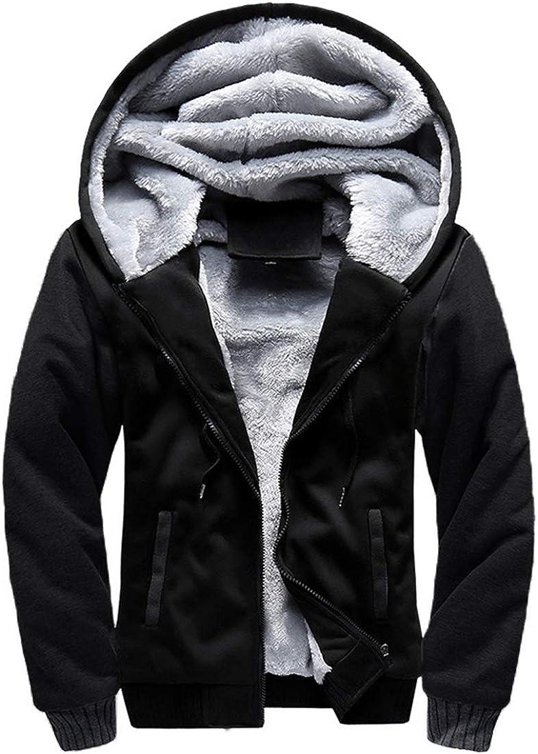 Mens Hoodies Hooded Sweatshirt Zip Up Coat Casual Warm Slim Jacket Outwear Tops