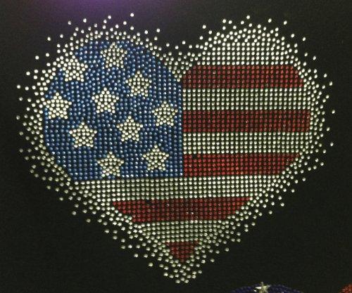 USA Heart Spray 4th of July Rhinestone Transfer Iron On Hot Fix Motif Bling Applique - DIY -