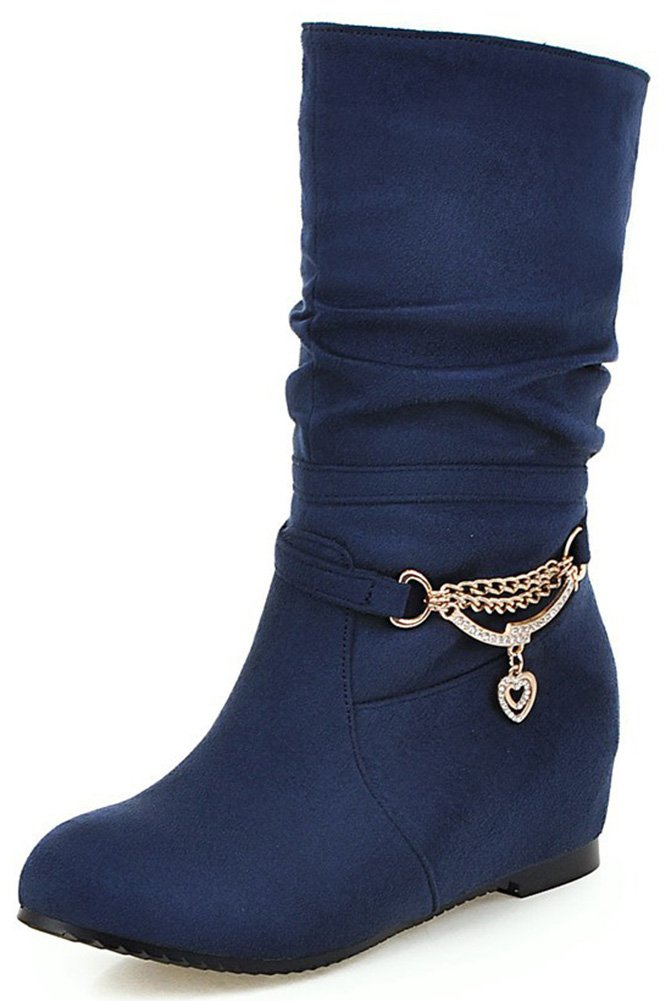 Mofri Women's Adorable Faux Suede Rhinestone Round Toe Low Hidden Wedge Heel Pull on Slouchy Mid Calf Boots (Navy Blue, 7.5 B(M) US)