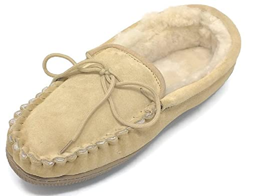 Men's Suede Genuine Sheepskin Moccasin Slippers Loafers Shoes (Tan Medium)