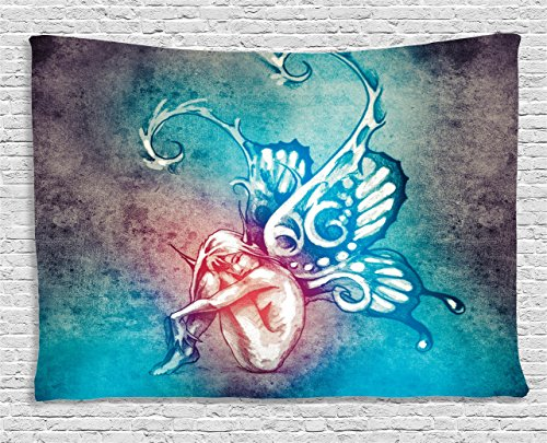 Fairy Tapestry (Boho Tapestry Blue Butterflies Decorations by Ambesonne, Fairy with Butterfly Wings Female Rebirth Psyche Lightness of Being, Bedroom Living Room Dorm Wall Hanging, 80 X 60 Inches, Blue Purple Pink)
