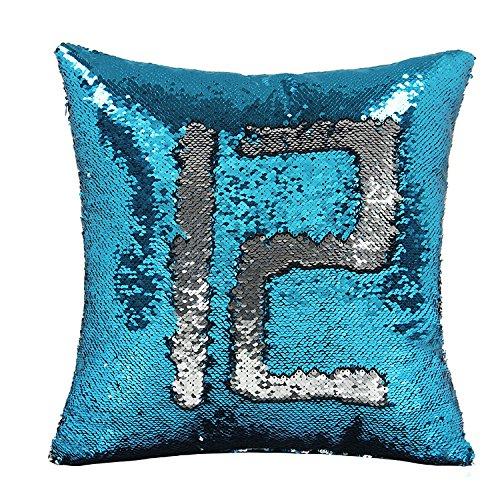 Reversible Pillow Covers Magic Mermaid Sequin Pillow Cushion Case 16 x 16 inch (No Pillow Insert)