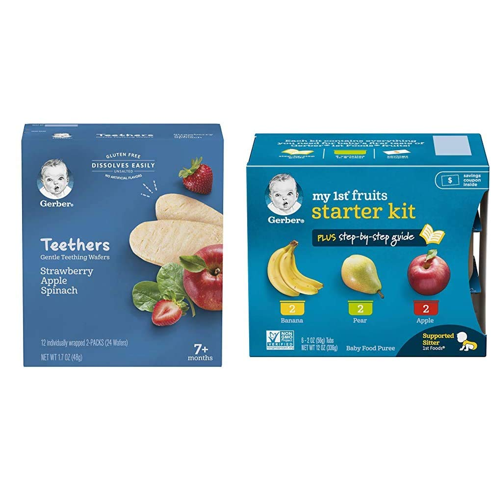 Gerber Teethers Gentle Teething Wafers - Strawberry Apple Spinach, 6 Count & Purees My 1st Fruits Starter Kit, 2 Ounce Tubs, Box of 6 (Pack of 2)