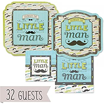 Dashing Little Man Mustache - Party Tableware Plates Napkins - Bundle for 32  sc 1 st  Amazon.com & Amazon.com: Dashing Little Man Mustache - Baby Shower or Birthday ...