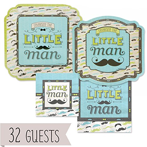 Big Dot of Happiness Dashing Little Man Mustache - Baby Shower or Birthday Party Tableware Plates, Napkins - Bundle for 32 for $<!--$44.99-->