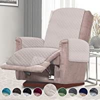 RHF Reversible Recliner Chair Cover, Chair Cover, Recliner Cover, Pet Cover for Chair, Furniture Protector, Machine Washable, Double Diamond Quilted(Recliner-Small:Light Beige/Light Beige)