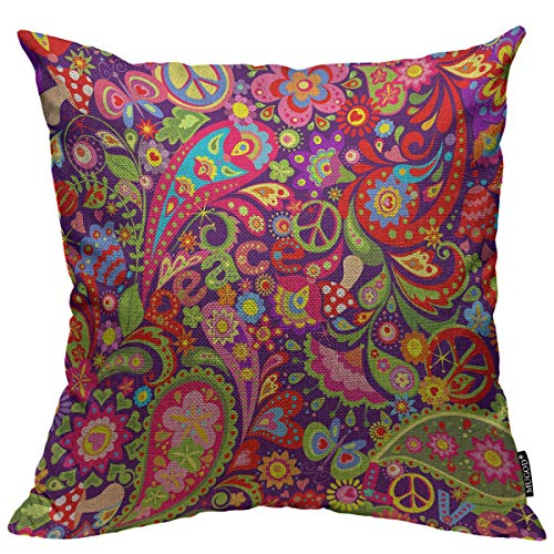 Mugod Hippie Vivid Pattern Throw Pillow Cover Abstract Colorful Flowers Hippie Peace Symbol Mushrooms Paisley Home Decorative Square Pillow Case for Bedroom Living Room Cushion Cover 18x18 Inch