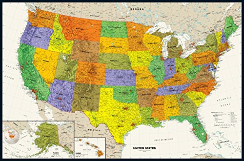 Contemporary USA Wall Map - 50.25 x 33 inches - - Magna Wall