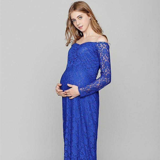 Baoblaze Embarazadas Maxi Fuera de Hombro Vestido de Fotografía Encaje Ropa de Mujer Accesorios Cómodo - Azul, 82cm/32.28inch (tiled), 102cm/40: Amazon.es: ...