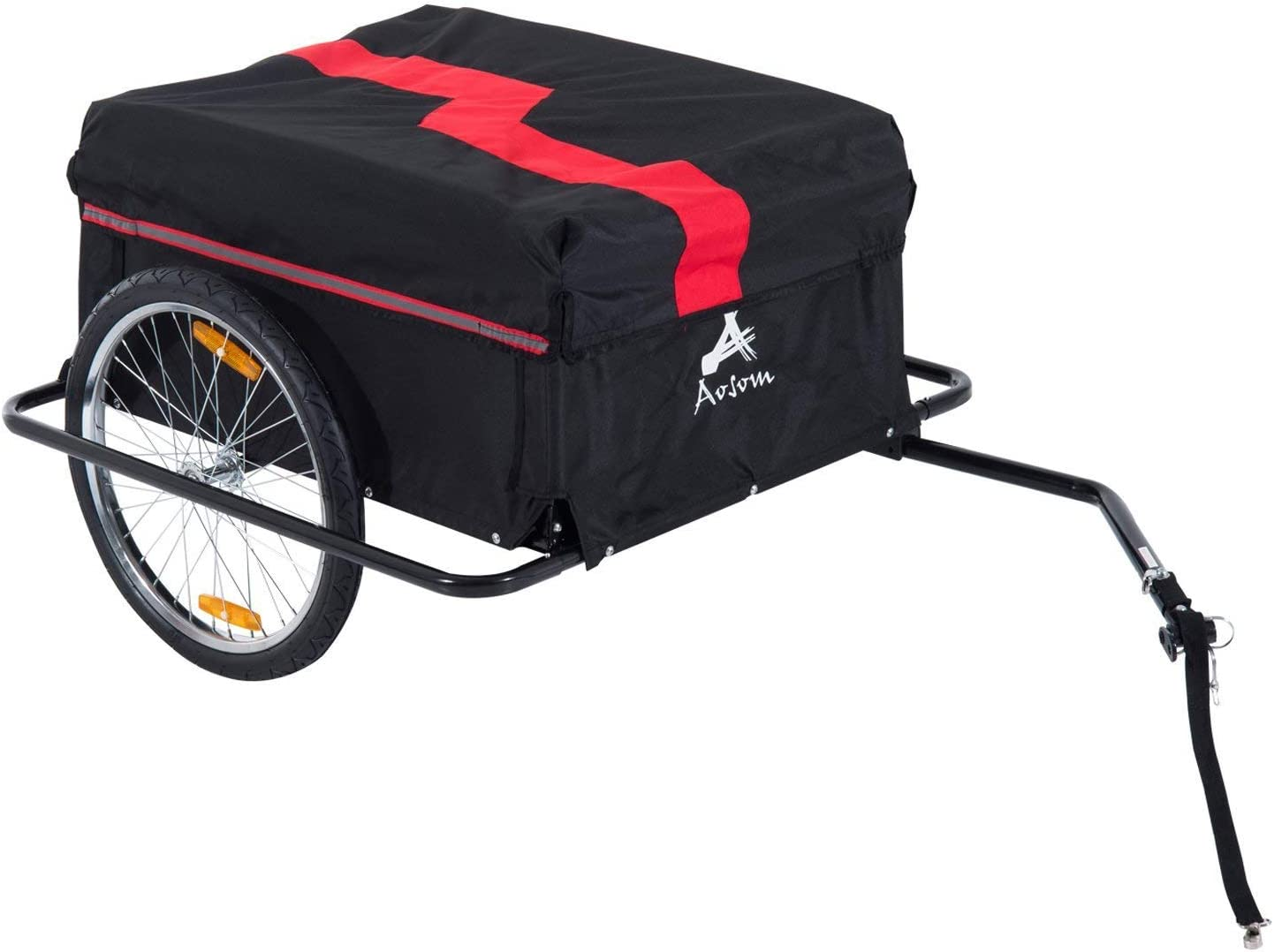 Black//Red Bicycle Cargo Trailer Cart Carrier Garden Use w// Cover