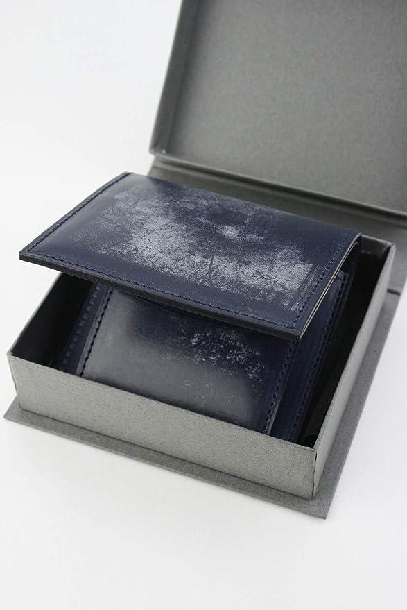 05d49e9c4381 Amazon.co.jp: (ファイブウッズ) FIVE WOODS BASICS BRIDLE ベーシックブライドル ミニウォレット 「MINI  WALLET」 ネイビー 日本製 ブライドルレザー 本革 メンズ 二 ...