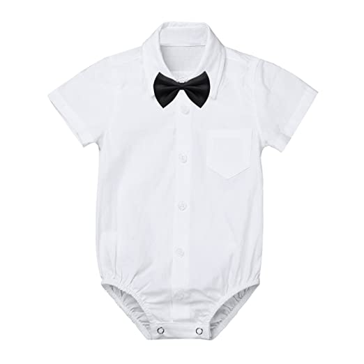 958661c7b281 Amazon.com  MSemis Baby Boys  White Formal Dress Shirts Gentleman ...