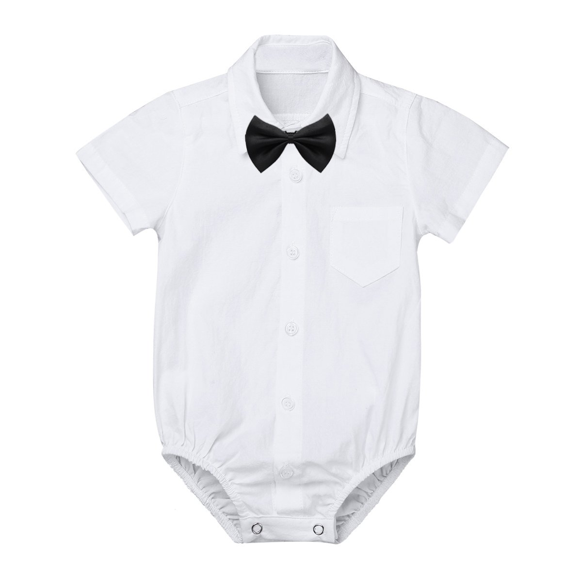 MSemis Baby Boys' White Formal Dress Shirts Gentleman Romper Bodysuit Wedding Party Outfits Short Sleeve Bow-tie 6 Months