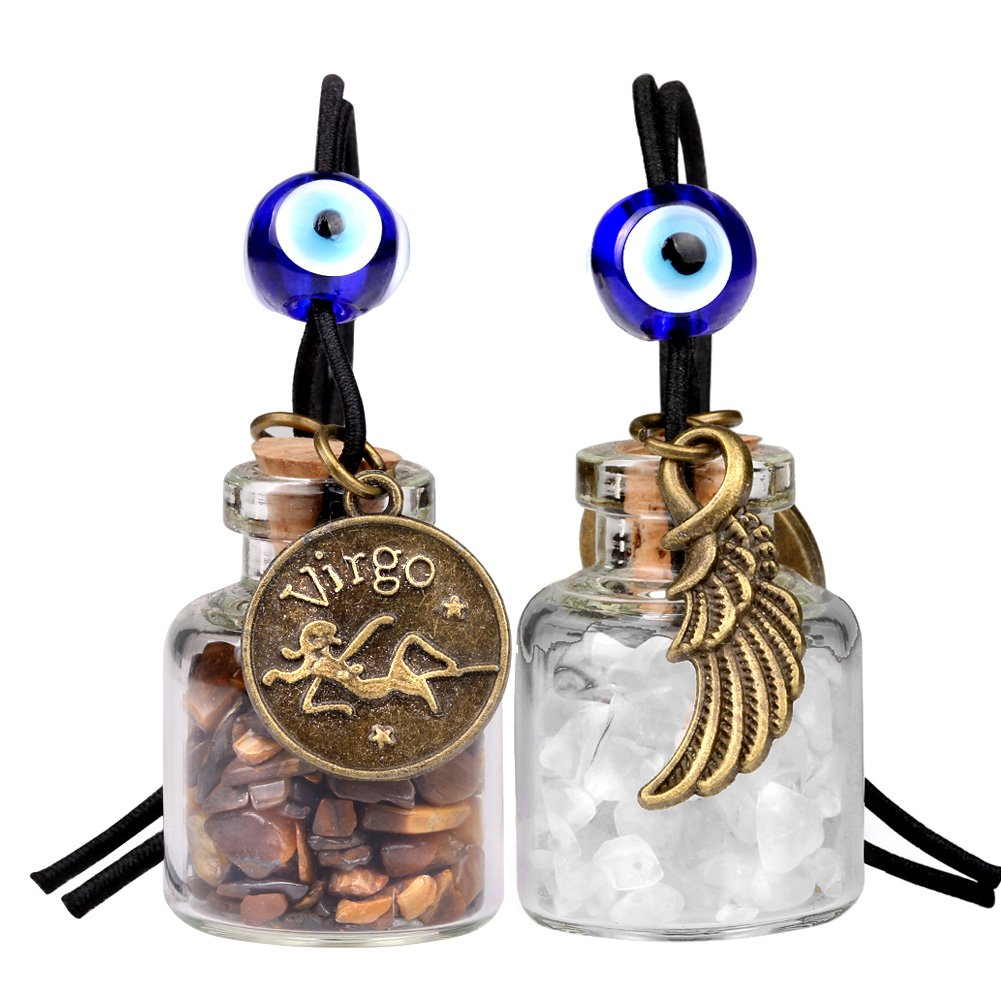 Zodiac Virgo Angel Wings Small Car Charms or Home Decor Gem Bottles Tiger Eye Quartz Birthstone Amulets