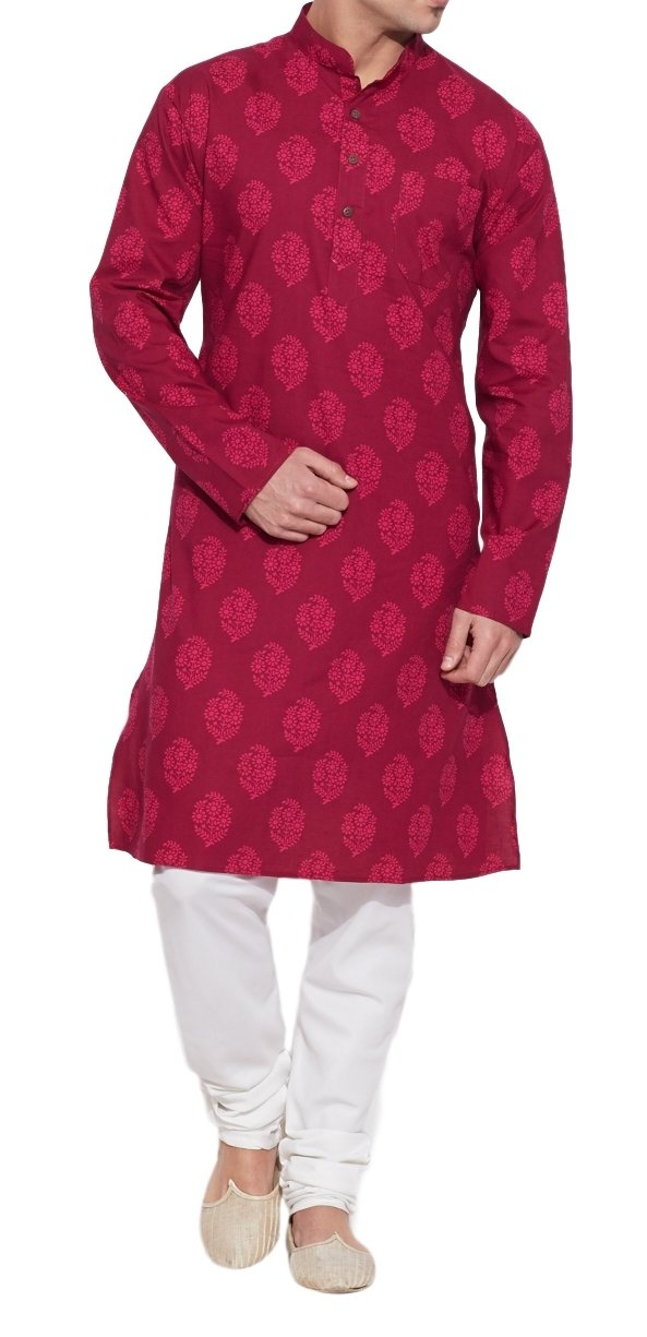 ShalinIndia Cotton Long Nehru Collar Indian Mens Kurta Shirt 3 pockets-Raspberry-Size 46 Inch