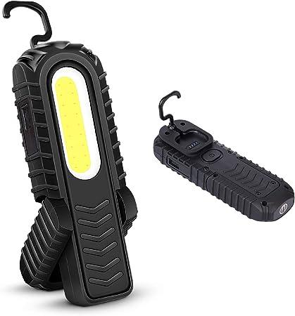 Led Arbeitsleuchte Portable Wiederaufladbare Taschenlampe Workshop Lampe Cob Inspektionsleuchten Mit Haken Und Magnetischen Base Für Auto Reparatur Garage Camping Notfallgebrauch Schwarz Auto