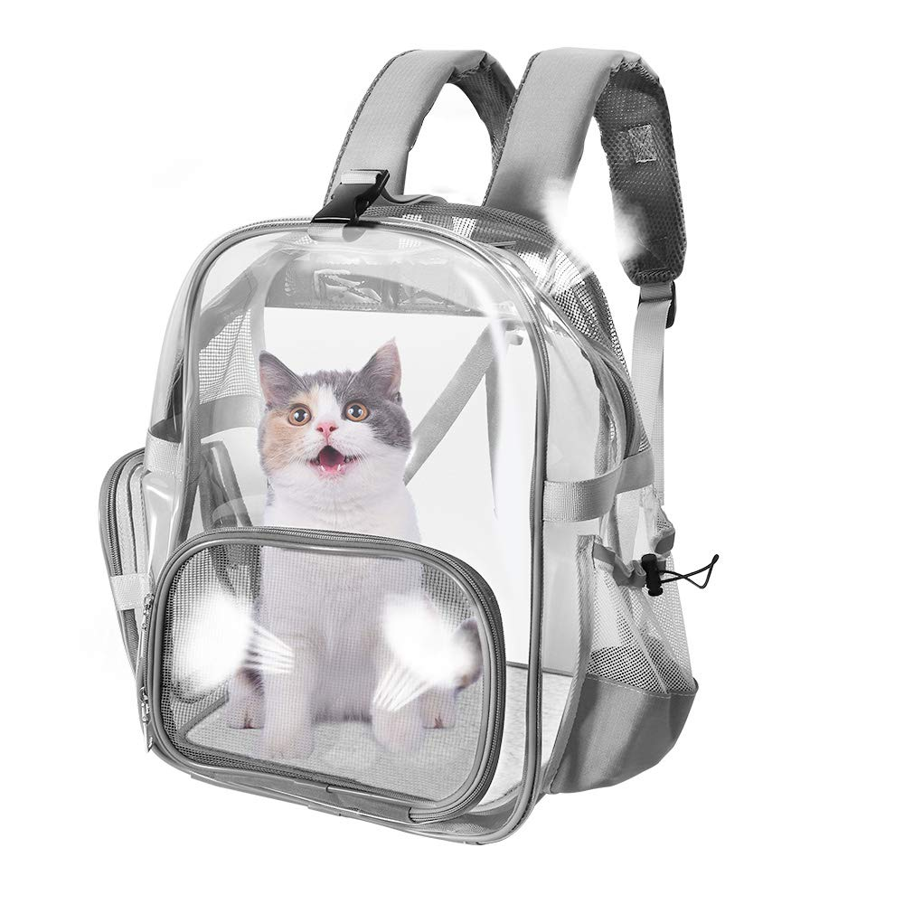 SlowTon Clear Pet Backpack, Transparent Cat Backpack Carrier for Small Dog Kittens Breathable Mesh Window Travel Carrier Bag Weight Up to 10lbs for Puppy Kitty Travel Walking Hiking Camping (Grey)