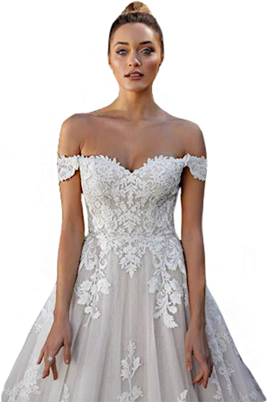 Tsbridal Women Off Shoulder Wedding Dress Boho Lace Appliques Long White Bridal Gowns