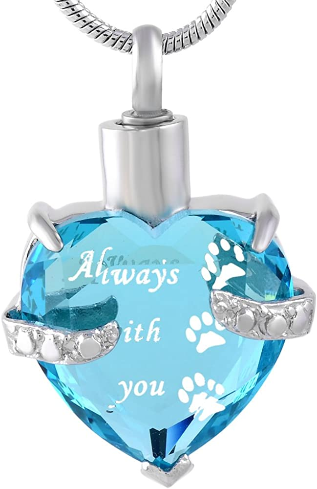 B-Pure Blue-Always Paw Graceful Memorial Glass Pendant Necklace for Ashes Cremation Jewelry