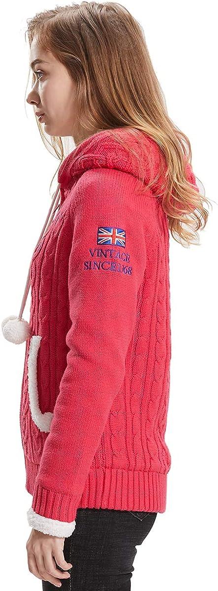 Extreme Pop Donna Maglioni con Cappuccio Cardigan con Cerniera Felpa con Cappuccio in Pile Warm Warm Sherpa UK Stock Rosa