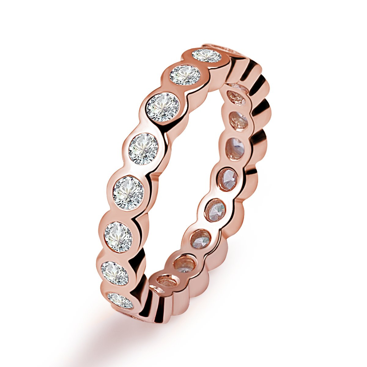 Twenty Plus Alluring Brilliant Ring Rose Gold Colored With Clear CZ Gifts For Women & Girls