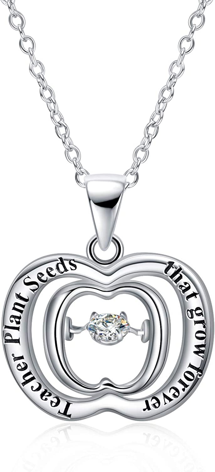 POPLYKE Graduation Gifts Teacher's Day Gifts Sterling Silver Apple Pendant Necklace for Teacher