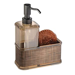 mDesign Decorative Plastic Kitchen Sink Countertop Liquid Hand Soap Dispenser Pump Bottle Caddy with Storage Compartment - Holds and Stores Sponges, Scrubbers and Brushes - Sand Brown/Bronze